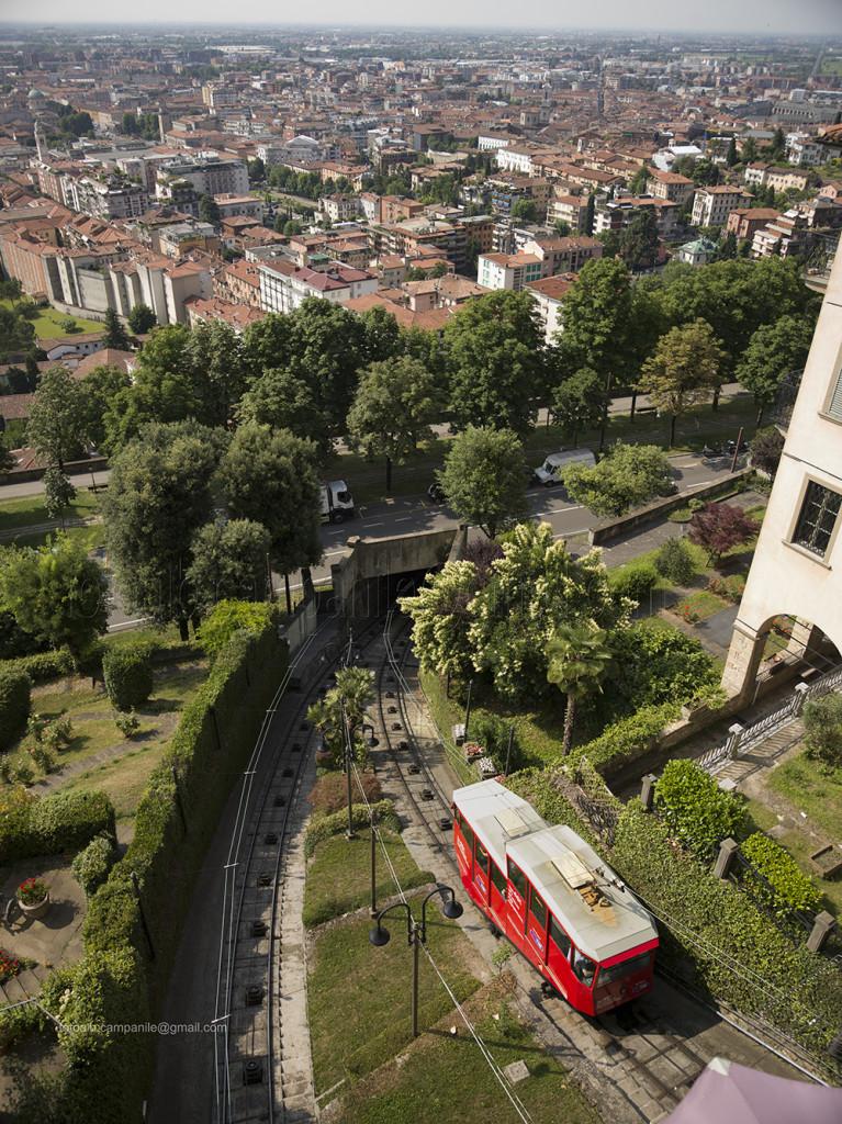 The funicular, Bergamo, Lombardy, Italy, Italia; Europe