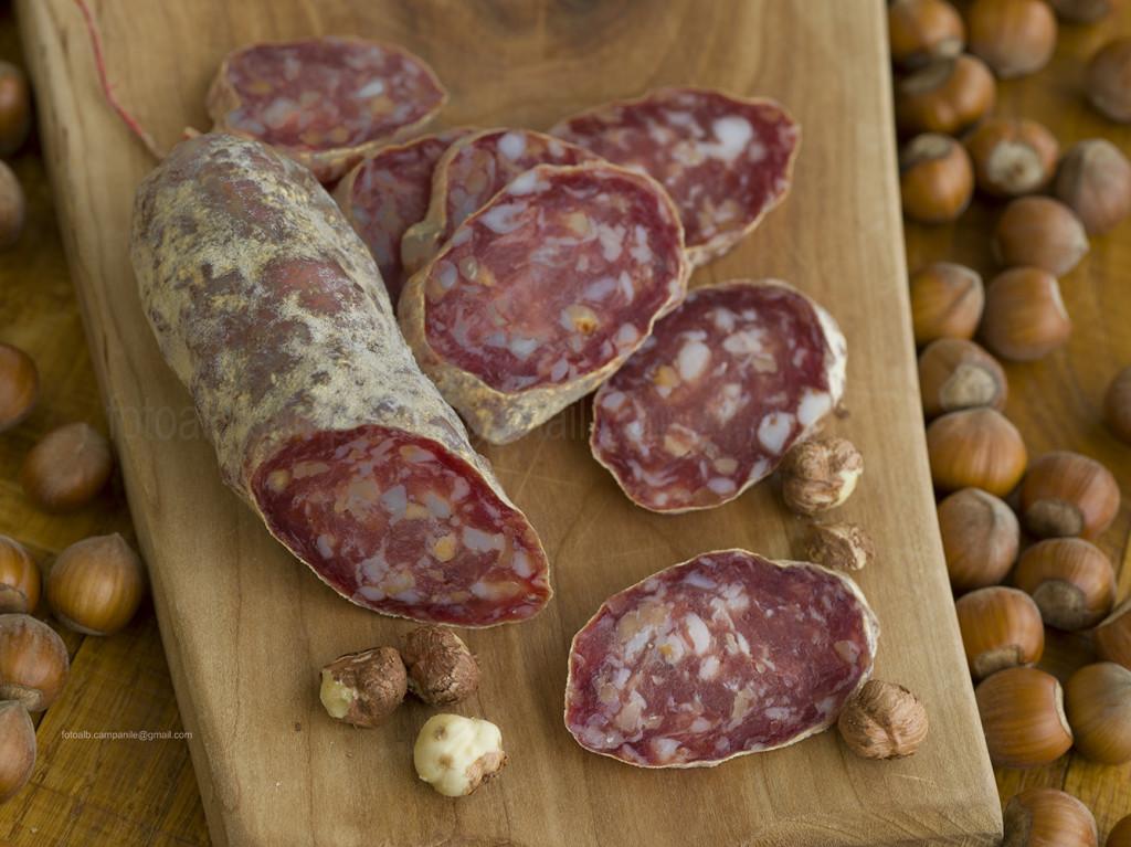 Salami with hazelnuts, Luiset Delicatesse, Ferrere, Piemonte, Italy, Europe